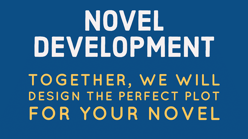novel development banner: togeher, we will design the perfect plot for your novel